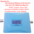 USA 4G booster band 5 850mhz CDMA repeater &4G repeater band 2 1900Mhz LTE FDD signal amplifier for AT&T Sprint Verizon T mobile