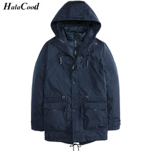 HALACOOD Autumn Winter Casual Hooded Thick Jacket Zipper Slim Coats Men Parka