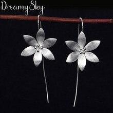 DreamySky 100% prawdziwe czyste srebro kolor biżuteria długie duże kolczyki kwiat lotosu dla kobiet biżuteria weselne dla dziewczynek