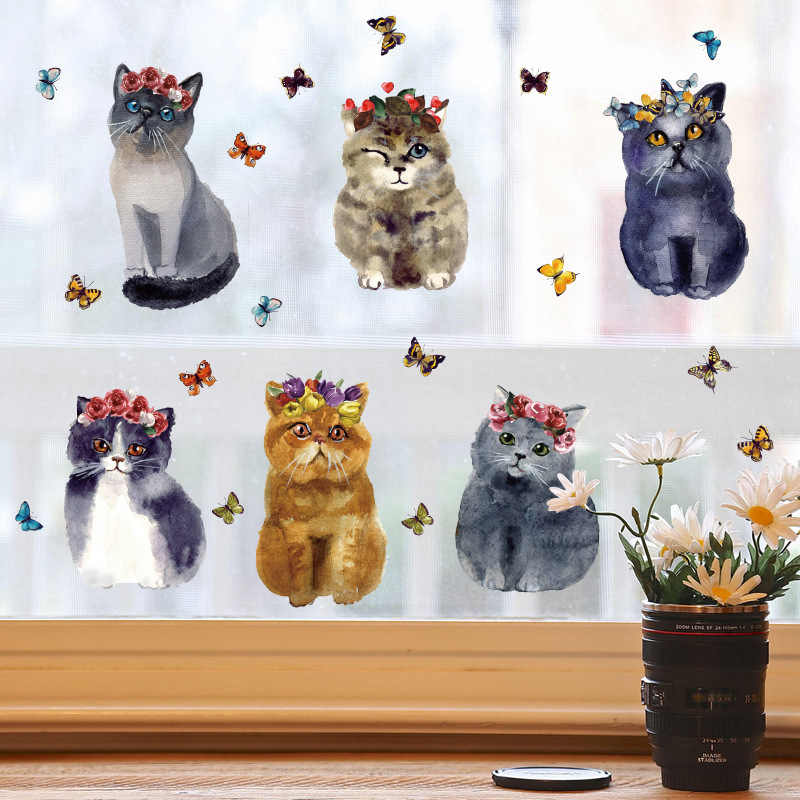 Cartoon Beautiful Painting Cats Dogs Wall Stickers DIY Removable Wall Decals For Kids Room Baby boy Bedroom Animal Home Decor