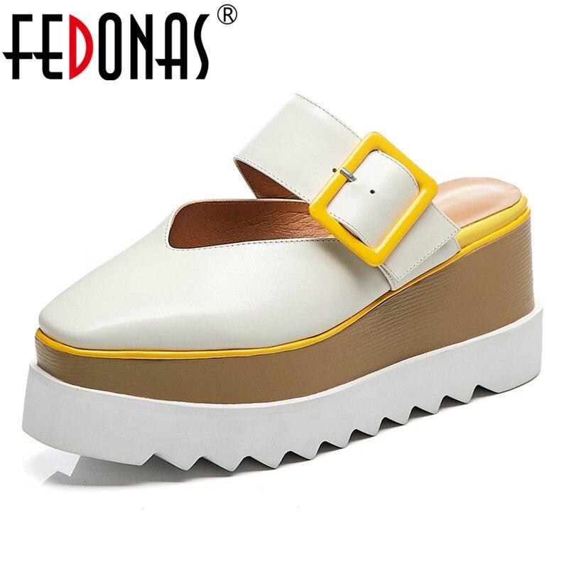 FEDONAS النساء حذاء كاجوال جودة جلد البقر مريحة مضخات منصات نمط الصلبة اللون الأحذية أسافين الصنادل أحذية امرأة-في كعب عالي من أحذية على  مجموعة 1