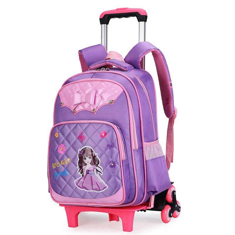 Mode enfants chariot à dos 2/6 roues garçons fille Trolley sacs d'école bagages de voyage pour enfants sac à roulettes sacs d'école