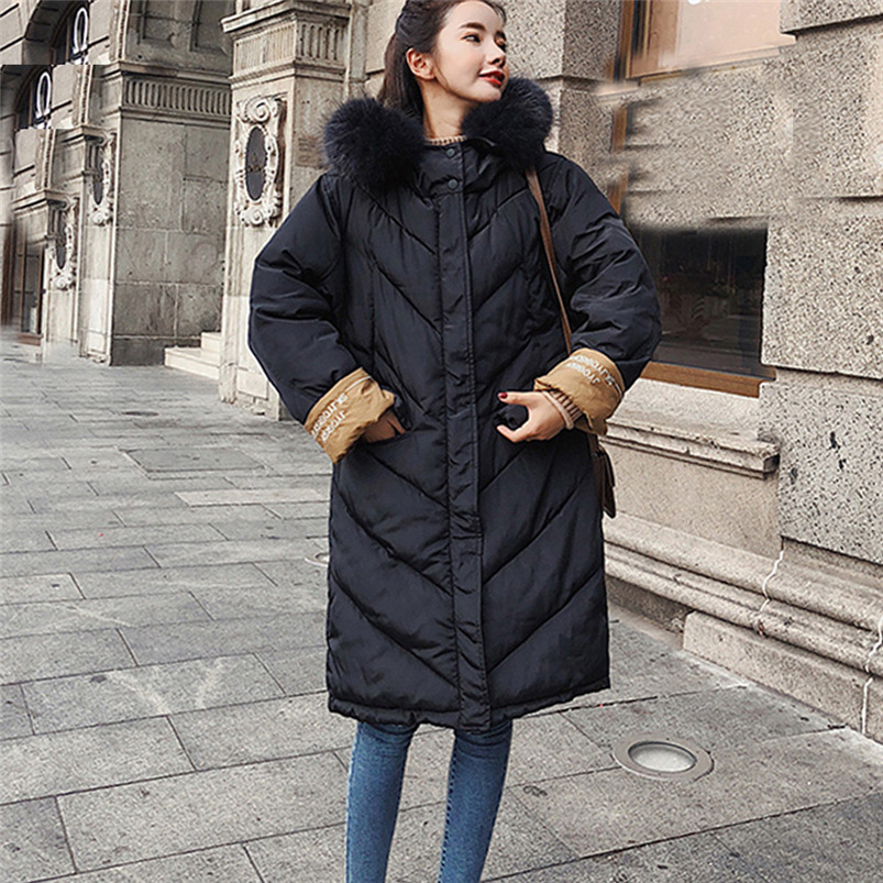 Hxroolrp Winter Coat Women Long 2018 Fashion Coat Girl Long Sleeve Hooded Parkas Women Jacket Slim Thick Coat femenino #S14 #N