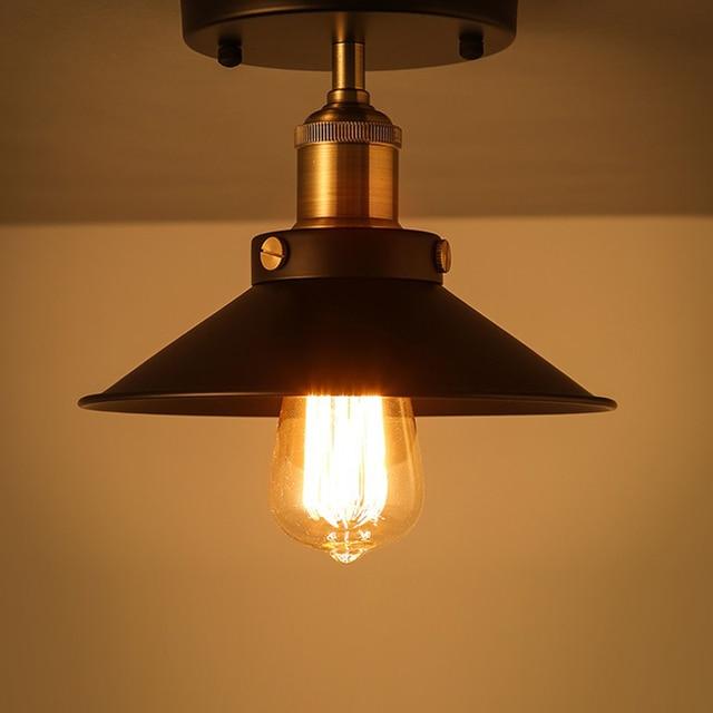 ce7932fb55a E27 Loft Vintage Ceiling Lamp Round Retro Light Industrial Design Edison  Bulb Antique Lampshade Ambilight Lighting Fixture