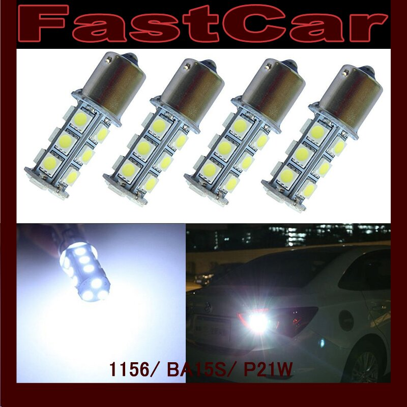 100x Quality 12V 24V S25 Car light led P21W ba15s 1156 18 leds 18 led smd 18smd 5050 lamp Free shipping
