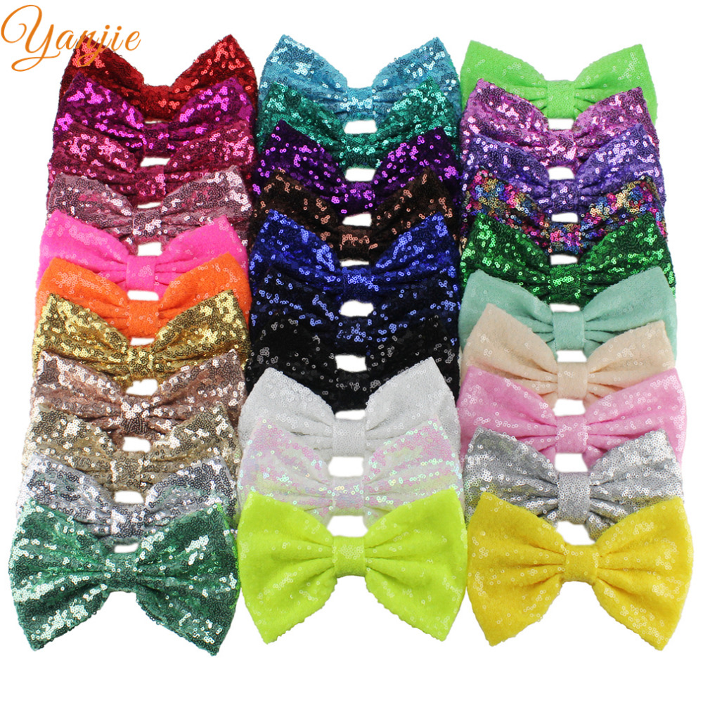 150pcs lot 7 Big Messy Glitter Knot Sequins Bow WITHOUT Hair Clips For Girls And Kids