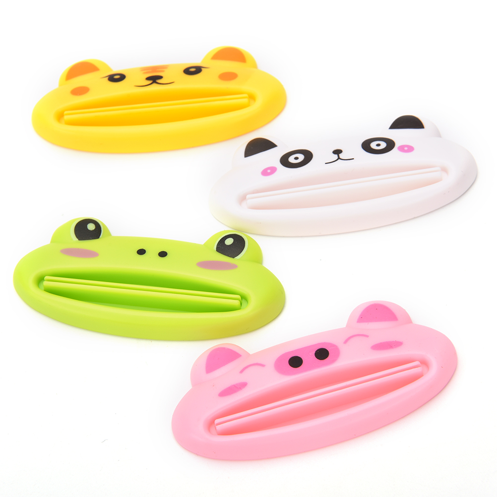HENGHOME 1pcs Plastic Toothpaste Tube Squeezer Easy Squeeze Paste Dispenser Roll Holder Cartoon Frog/Tiger/Frog/Panda/Pig
