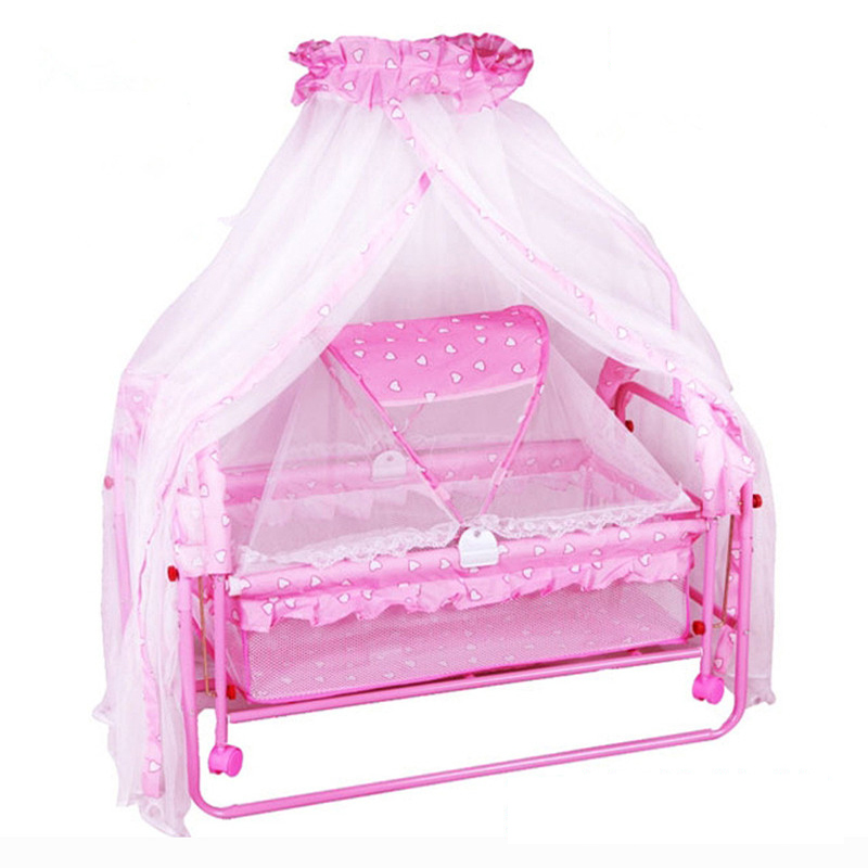 High Quality Solid Shaking Swing Cradle Baby Bed With Mosquito Net