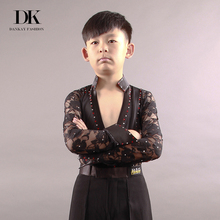 DK Fashion Boys Latin Dance Top Boys Shirt Sex Product Deep V-neck Stage Costumes Performance Dancewear Kids Latin Clothes