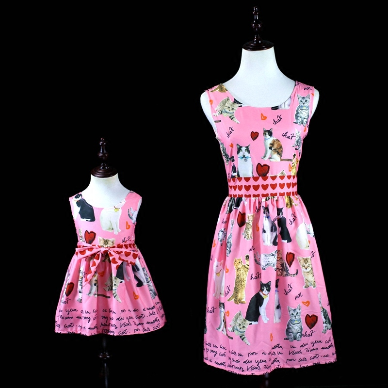 Summer cat print kids girl holiday sister look mother daughter dress Family matching outfits mommy and baby girls beach dresses cat print hooded dress