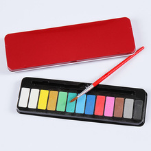 13 Colors+1 Pc Brush Portable Tin Box Solid Watercolor Paints Set for Kids Student Painting Stationery Art Supplies