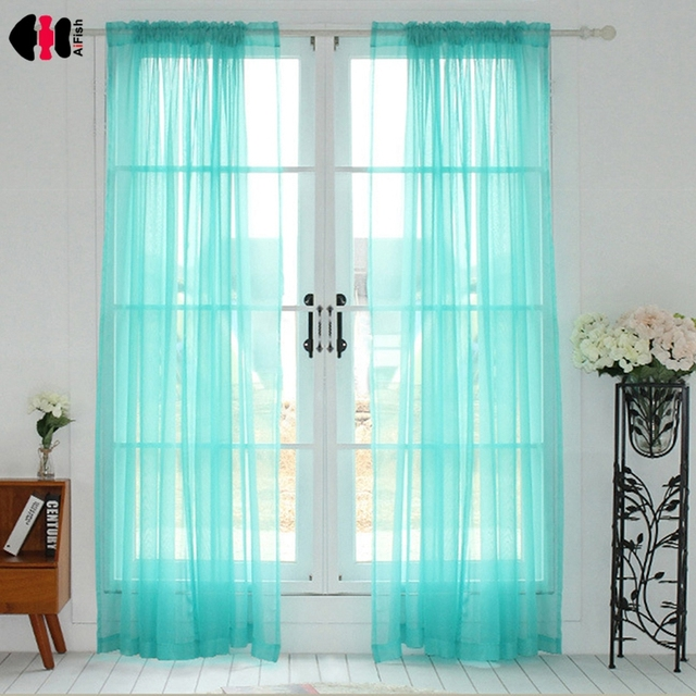 Tiffany Blue Solid Sheer Voile Curtains Translucidus Modern ...