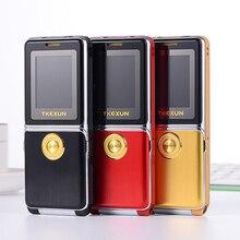 Mampa débloqué Flip métal téléphone Mobile une clé double torche FM Bluetooth SOS cadran rapide Whatsapp vieil homme téléphone portable Senior P094
