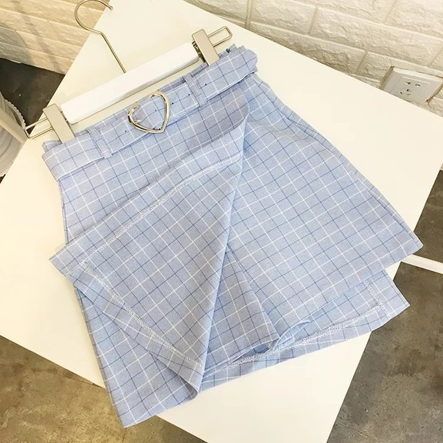 Summer New Ladies A Line Skirts Women Plaid Slim New Korean Fashion Belt Above Knee Mini Skirts Empire Shorts Skirts Preppy by Bebobsons