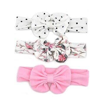 3 Pcs/Set Floral Bows Baby Headband Dot Bowknot Haarband Baby Girl Headbands Cotton Kids Hair Band Girls Hair Accessories 1