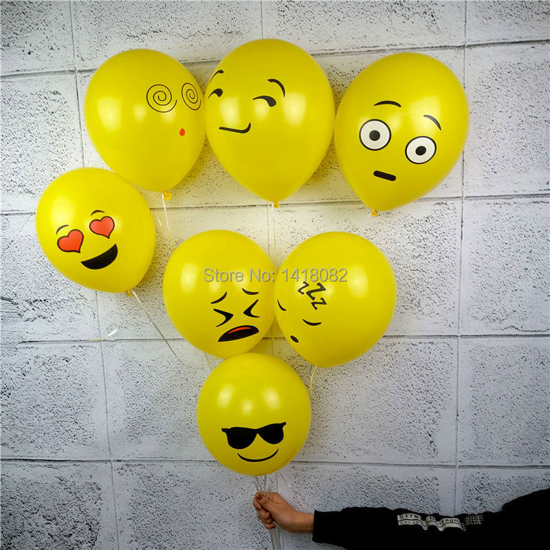 50Pcs/Lot 12inch 2.8g Emoji Balloons Smiley Face Expression Yellow Latex Balloons Party Wedding Ballon Cartoon Inflatable Balls