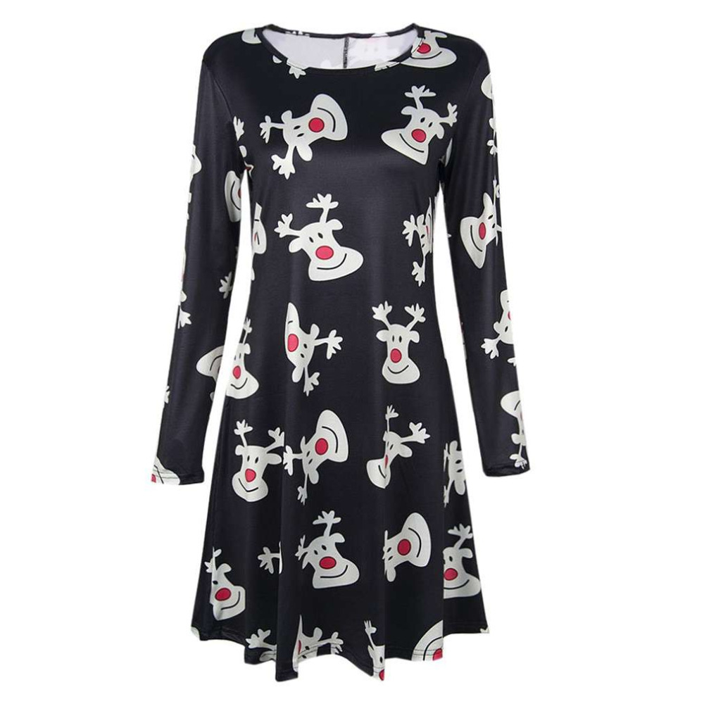 Christmas dress casual - High Quality Women Lady Christmas Party Dress Casual Long Sleeve Cotton Deer Printed Decoration Dress Club