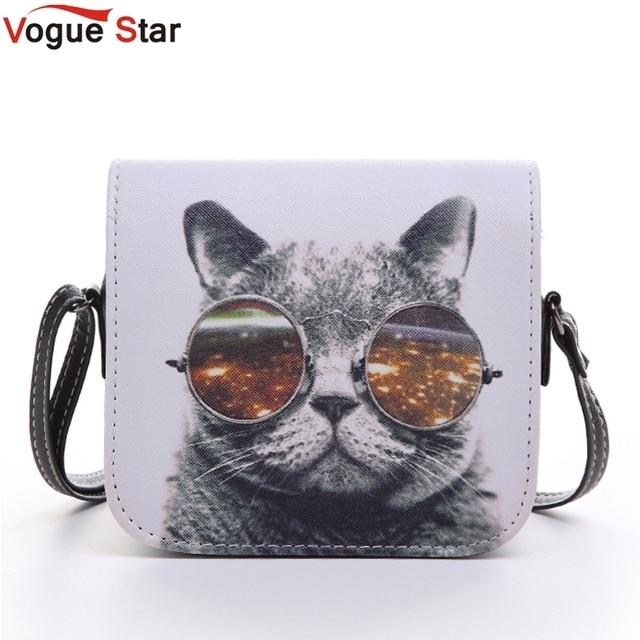 6403a1489 Bolsos Carteras Mujer Marca Women PU Leather Cat Wearing Glasses Print  Messenger Handbag 2015 Women Bag YA40-207