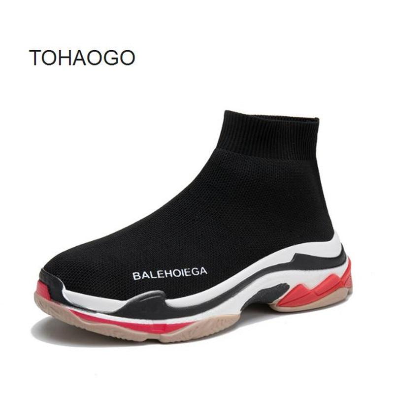 2018 Printemps et Automne Dernière Extensible Tricoté Chaussettes Chaussures grande taille décontracté Femmes chaussure fond épais sneaker Femmes huarche