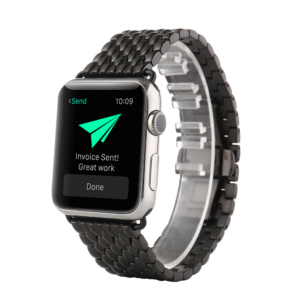 New Style Stainless Steel Watch band For Apple Watch Band 38mm 42mm metal straps Link bracelet butterfly loop black gold Silver new men black gold silver metal watch band stainless steel bracelets for sports watch smart watch for gramin fenix 3