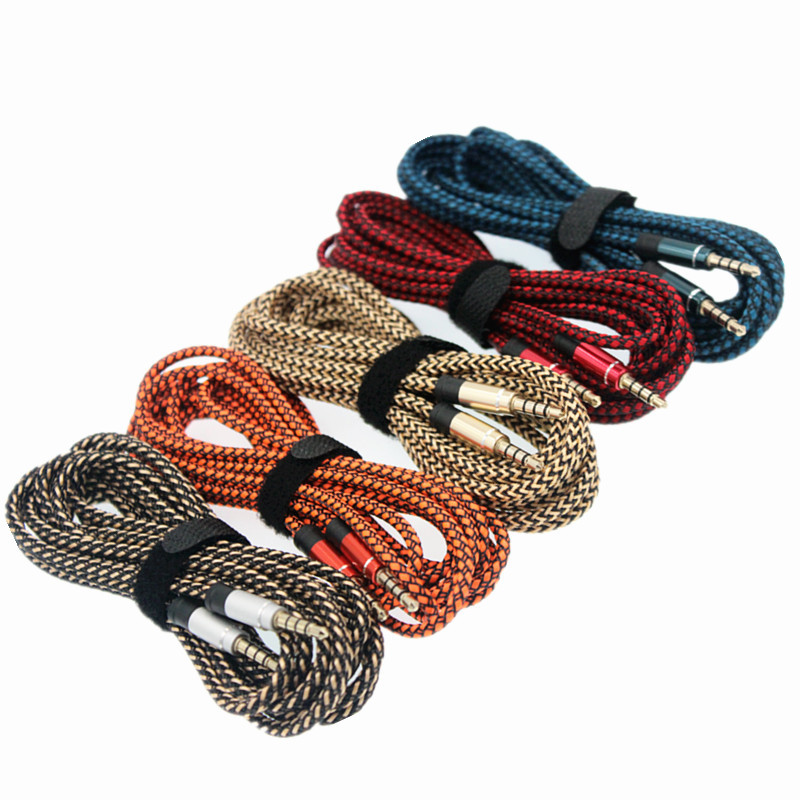 2018 3m Fabric Braided 3.5 Mm Jack Male To Male Audio Stereo Aux ...