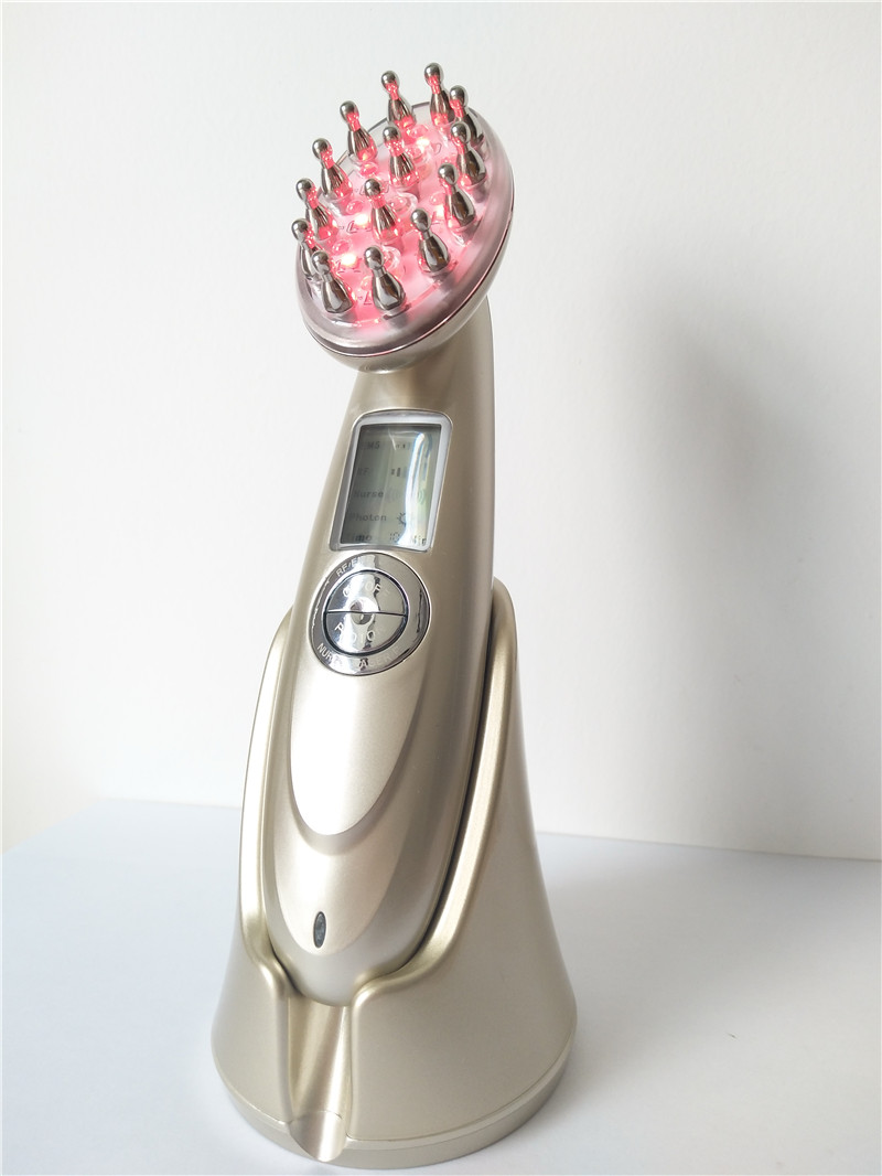 Portable Home Use RF EMS Microcurrent Vibrating Scalp Massager Electric Infrared Laser Comb Hair Growth with LCD Display high quality scalp massage comb 3 color mixed hair hair curls comb send elders the best gifts health care tools