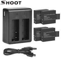 Disparar puerto Dual del cargador de batería con paquete de batería de 900mAh para la cámara Sjcam Sj4000 Sj5000 M10 Sj 4000 5000 Cámara de Acción sjcam accesorio
