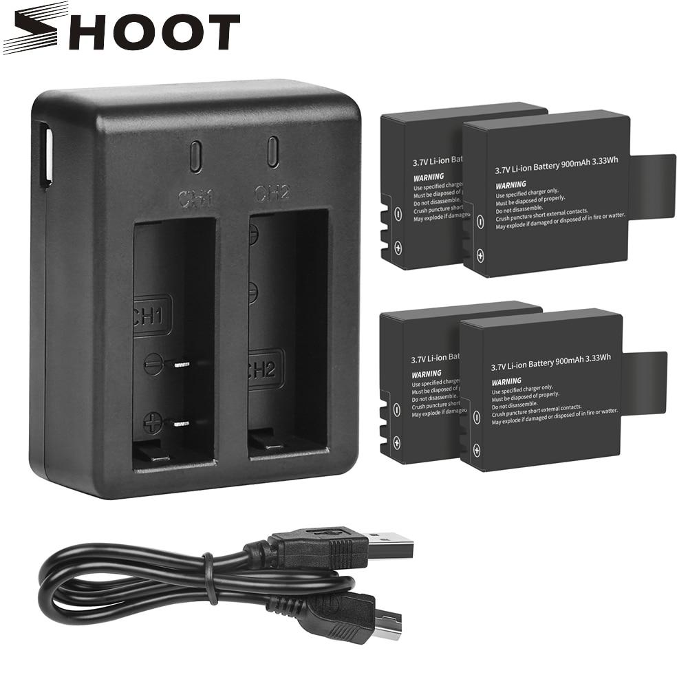 SHOOT Dual Port Battery Charger With 900mAh Battery Pack For Sjcam Sj4000 Sj5000 M10 Sj 4000 5000 Action Camera Sjcam Accessory