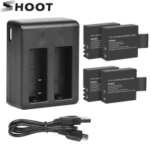 цена на SHOOT Dual Port Battery Charger with 900mAh Battery Pack for Sjcam Sj4000 Sj5000 M10 Sj 4000 5000 Action Camera Sjcam Accessory