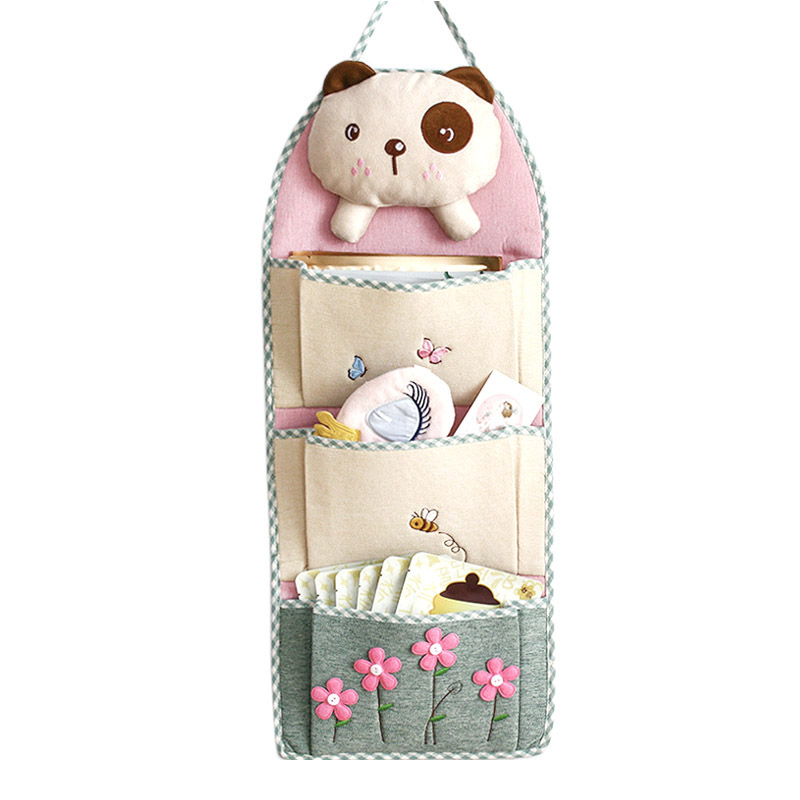 Multi Pocket Hanging Organizers Cute Toy Key Sundries Cotton Wall Door Storage Bag Cloth Closet Wardrobe Accessories Supplies
