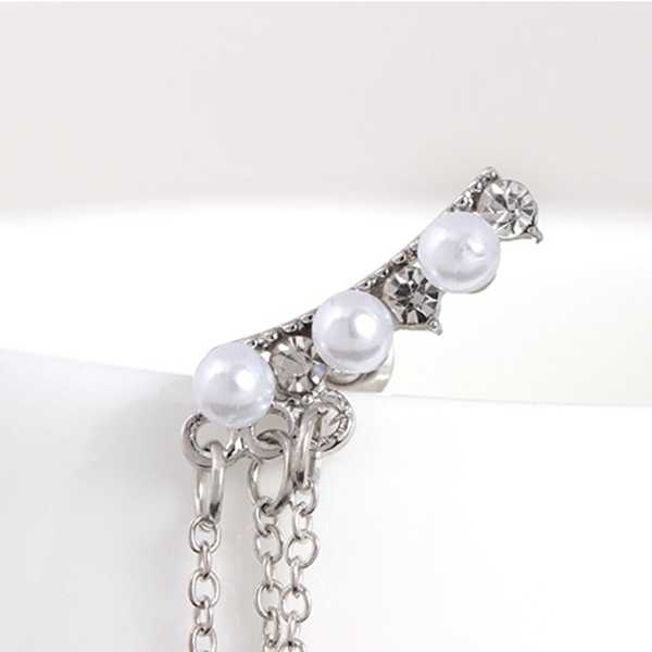 New Fashion Jewelry Hot Sale Crystal Decorated Long Statement Silver Metal Chain Tassel Simulated Pearl Drop Earrings for Women