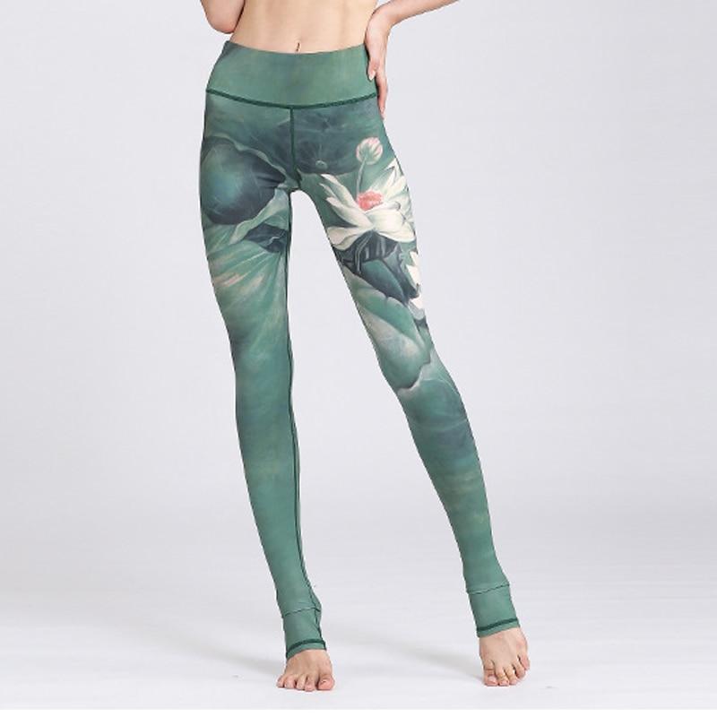 Women Leggings Fitness High Waist Skinny Sexy Workout Legging Lotus Print Sporting Pants Leggins Elastic Sportwears