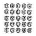 BAMOER Authentic 925 Sterling Silver Vintage A to T, Clear CZ Alphabet Letter Beads Charms Fit Bracelets PSC008