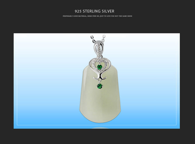 925 Sterling Silver White Natural Jade Pendant55