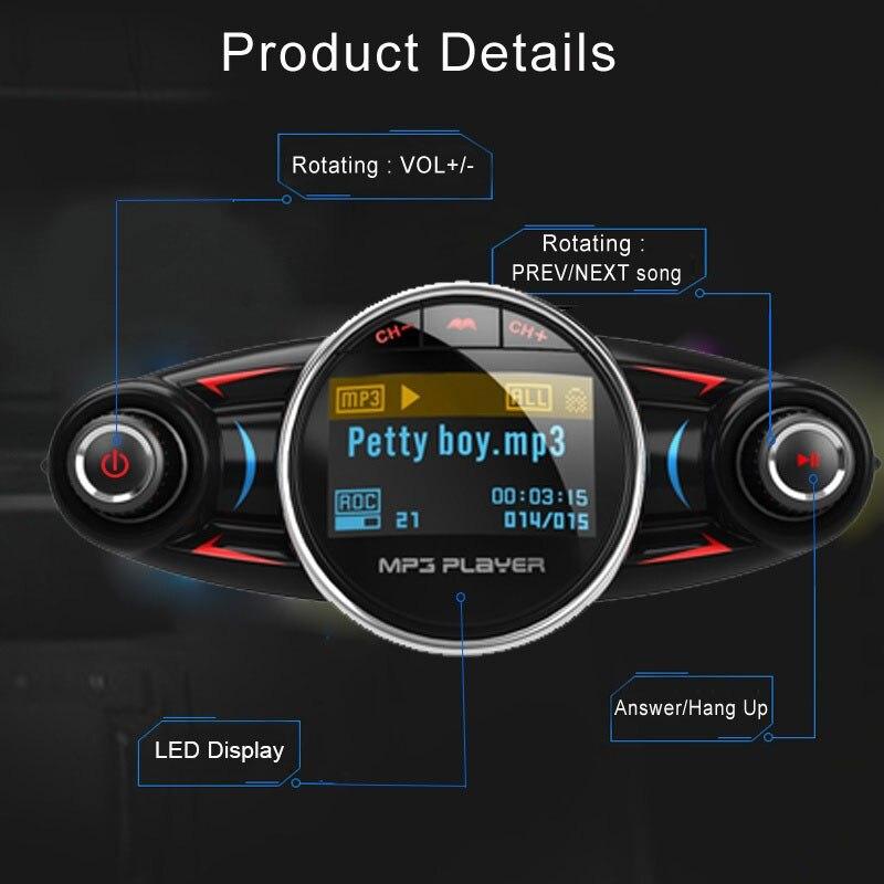 Автомобильный fm-передатчик, умный fm-адаптер, Обнаружение напряжения, автомобильный комплект, беспроводной радиоадаптер, bluetooth-приемник