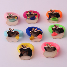 20pcs/lot Hot sale!! Fahsion cute baby small hair bands quality cotton rings with metal apples and bows charms accessories