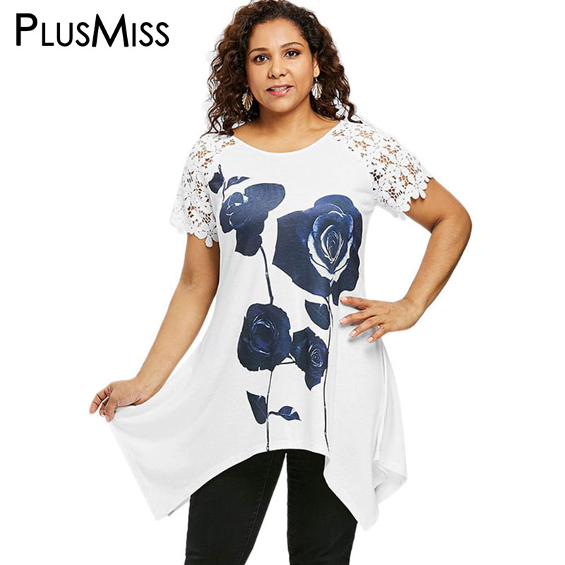 PlusMiss Plus Size 5XL 4XL XXXL Flower Floral Print Lace Crochet Sleeve Long   Blouse     Shirt   Women White Short Sleeve Tops Big Size