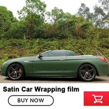 Nova chegada de cetim série Militar verde amy green car wraps vinil embrulhar em película Com Bolha de Ar Livre Cola atualizado
