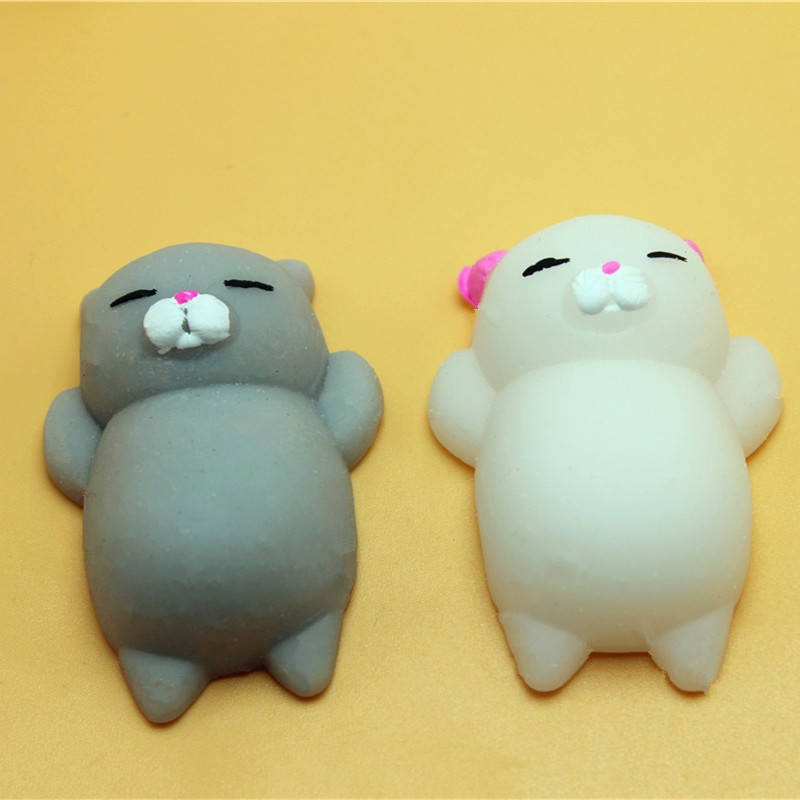 Squishy Stretchy Animals : 1pcs Finger Toys Squishy Mini Kawaii Squeeze Stretchy Animal Healing Stress White Gray Cat ...