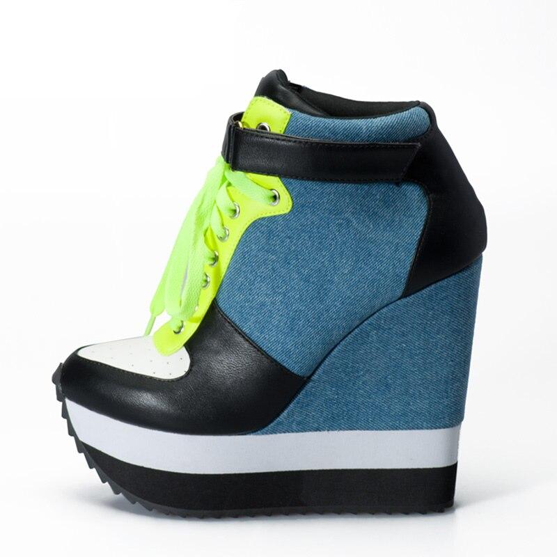 Femmes Chaussures Wedge Casual Denim La Bride Pompes Et 2018 Date Dames Blue Hauts Talons Cheville Sneakers Dentelle Up white Sinsaut À 4pqIXwE