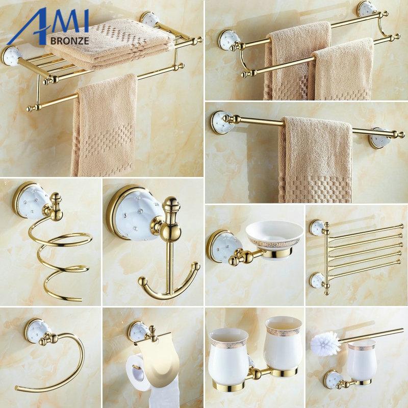 63GD Series Golden Polish Brass Diamond Wall Mounted Bathroom Accessories Sets Towel Rack Towel Shelf Hook