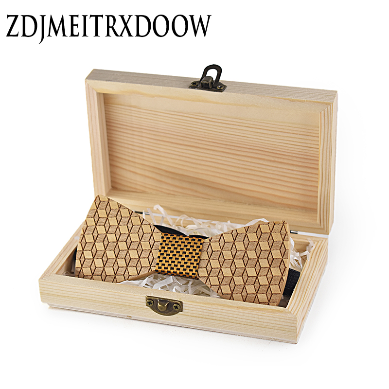 Men`s Tie Wood Engrave Striped Jacquard Woven Geometric Tie+Hanky+Wood Box Set For Formal Wedding Business Party