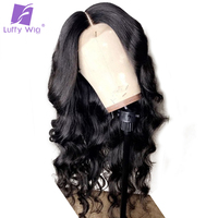 Luffy Wavy Glueless Full Lace Wigs Human Hair Pre Plucked With Baby Hair Bleached Knots Brazilian Non Remy Hair 130% Density