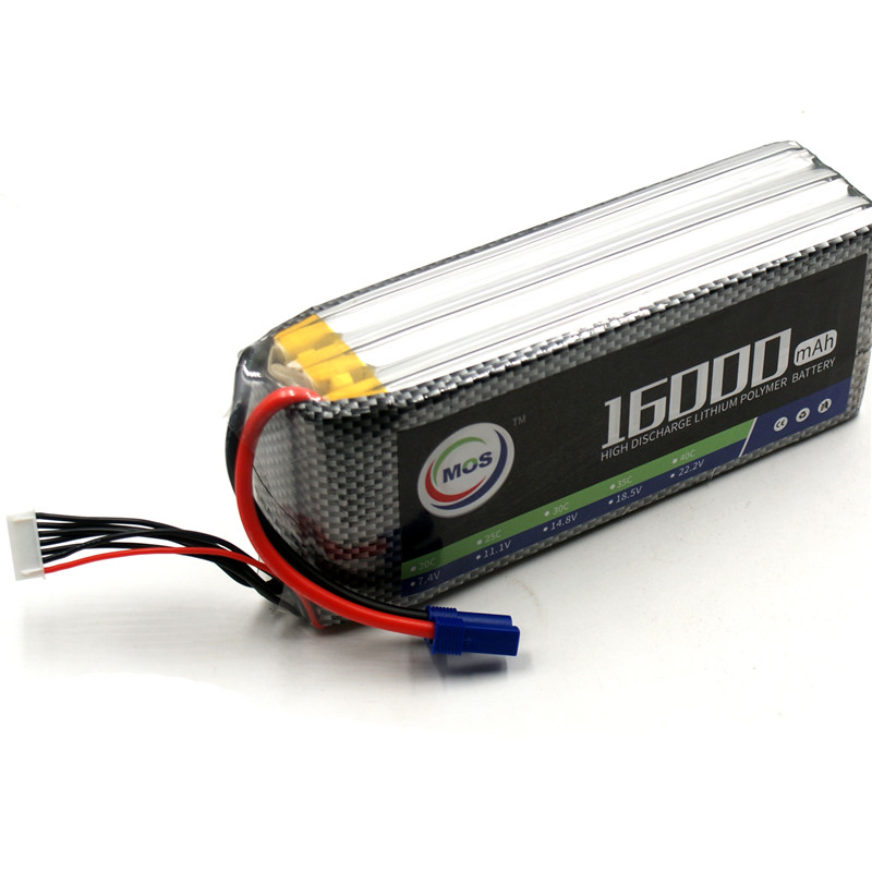 MOS 6S RC Lipo Battery 22.2v 25C 16000mAh For RC Aircraft Car Drones Boat Helicopter Quadcopter Airplane Li-polymer 6S AKKU 1s 2s 3s 4s 5s 6s 7s 8s lipo battery balance connector for rc model battery esc