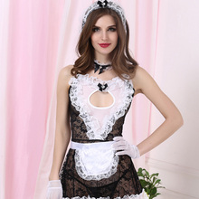 Plus Size lenceria porno Cosplay Maid Uniform Lace Costumes Sexy Lingerie For Women Erotic Underwear Hollow out Chemise