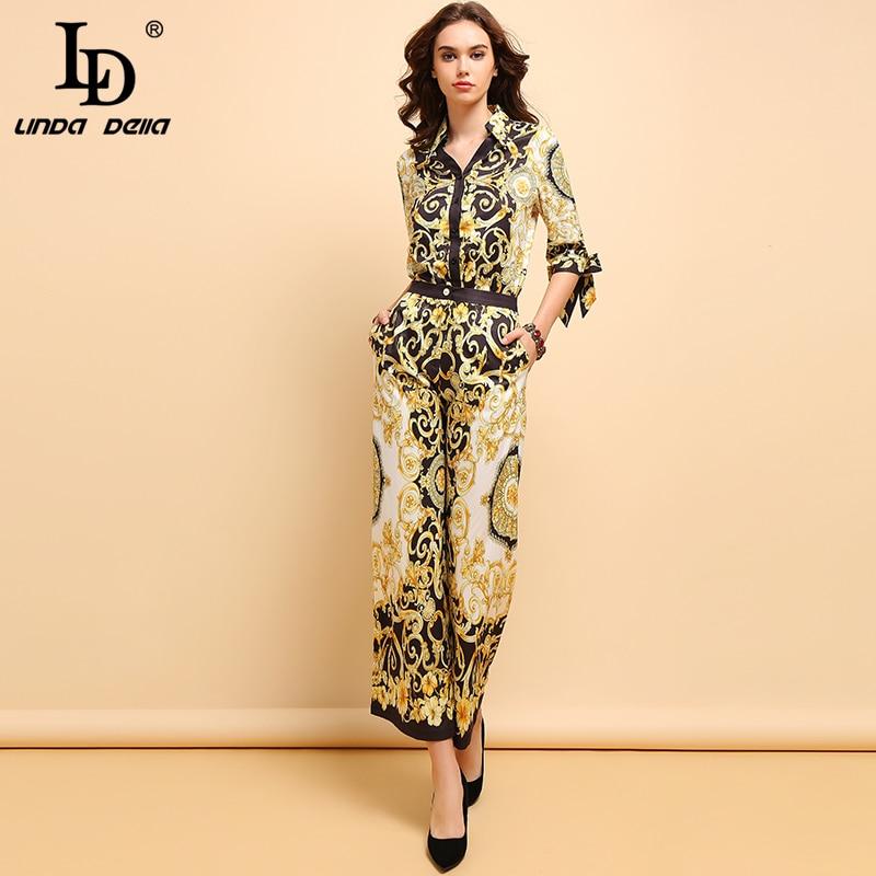 LD LINDA DELLA Spring Fashion Suits Women's Elegant V-Neck Bow Tie Shirt And Vintage Floral Printed Wide Leg Pants 2 Pieces Set