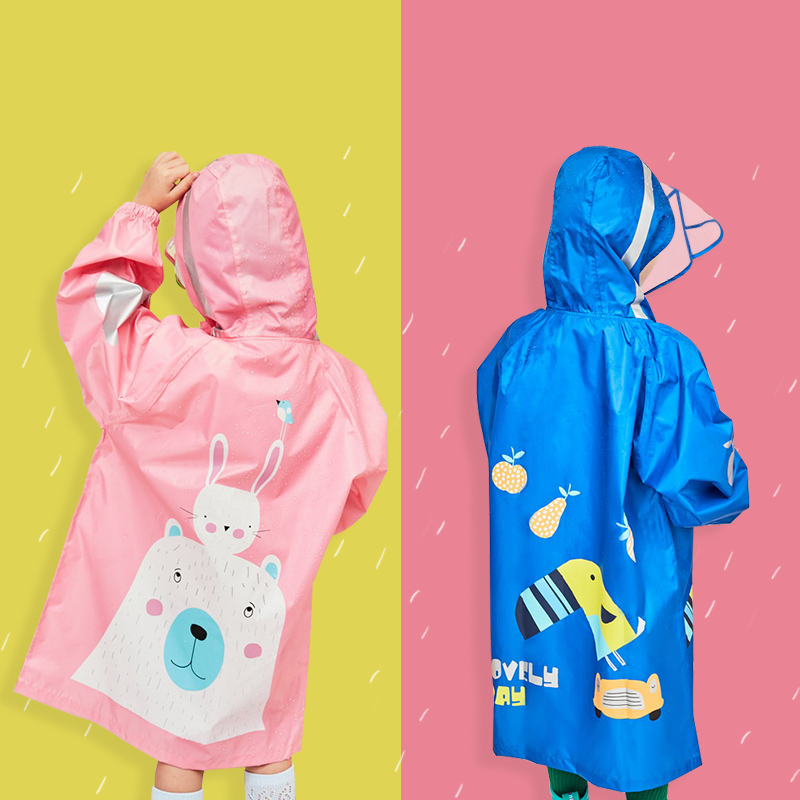 2019 New Cartoon Toucan Kids Rain Coat Children Windproof Poncho Boys Girls Rainwear Student Blue Outdoor Waterproof Raincoats