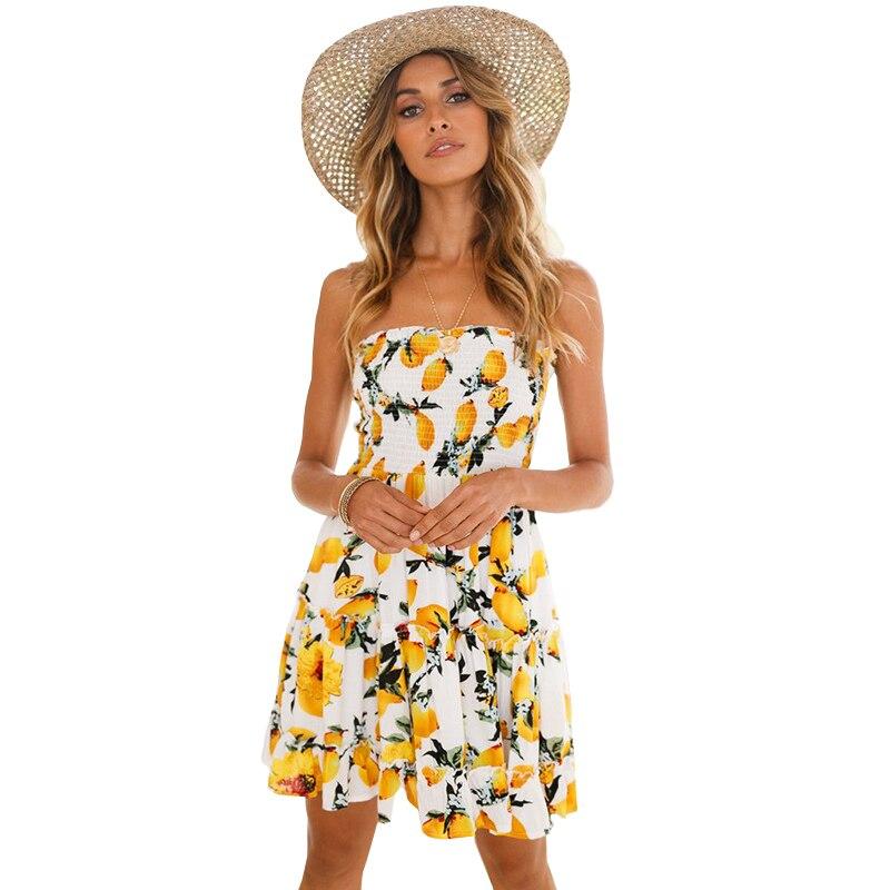 Manoswe Strapless Print Floral Beach Dress tunic Boho Vestido Summer Yellow Sundresses Sleeveless Backless Mini Ruffle Dresses in Cover Ups from Sports Entertainment