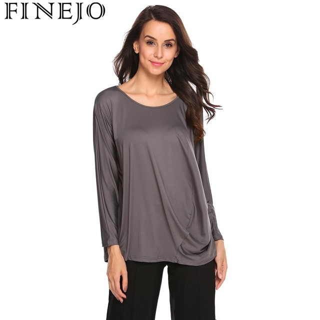 FINEJO Autumn Women T-Shirts 2017 New Fashion Casual tshirt O-Neck Long  Sleeve Tees Draped Solid Loose Fit Female T-Shirt f46926f9c0be