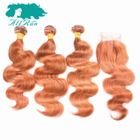 Allrun Brazilian Hair Body Wave Hair 3 Bundles With 4 4 Lace Closure Orange Color 100